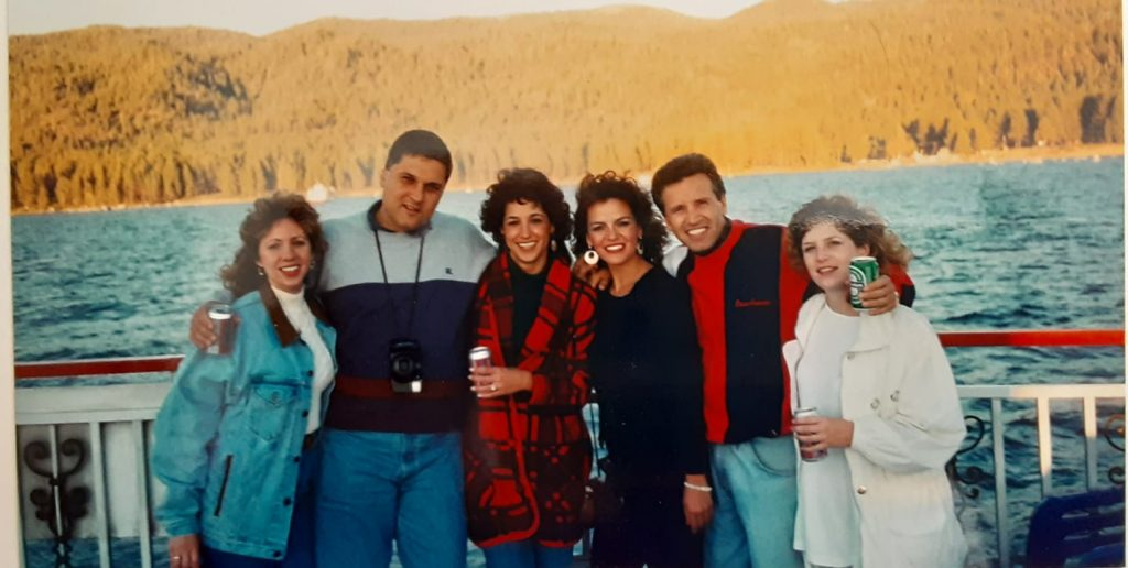 Annamarie and Phil Pamphilis in Lake Tahoe on their honeymoon with their best friends.